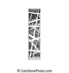 Paper cut out font letter I 3D