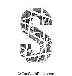Paper cut out font letter S 3D