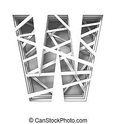 Paper cut out font letter W 3D