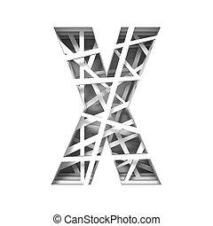 Paper cut out font letter X 3D