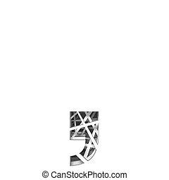 Paper cut out font COMMA 3D