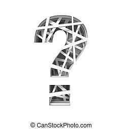 Paper cut out font QUESTION MARK 3D