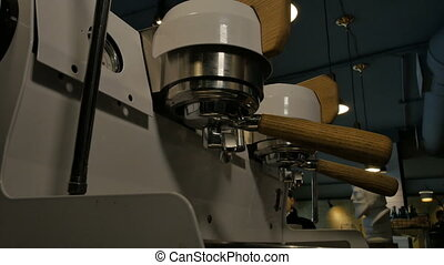 Coffee making process in cafe
