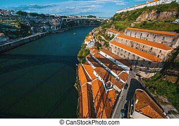 Douro river and coast of Vila Nova de Gaia from Dom Luis I...