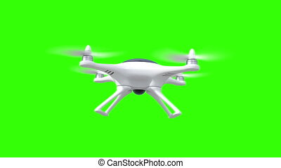 Quadcopter, four seamless looped 3d animations on a green,...