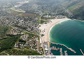Hout Bay (Cape Town, South Africa) aerial view shot from a...