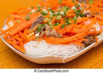 home cooked rice noodles with carrot slices and beef