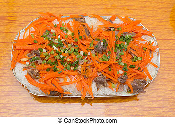 top view home cooked rice noodles with carrot slices and...