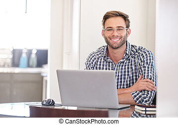 Handsome groomed caucasian accountant smiling while looking...