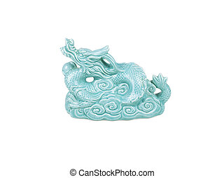Emerald stone Chinese dragon on white background
