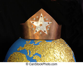 crown - A copper crown with a pentagram on golden globe