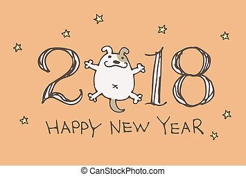 犬,  2018, 年, 新しい, 漫画, カード