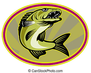 walleye fish jumping - retro illustration of a walleye fish...