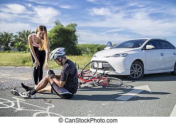 Accident car crash bicycle on bike lane