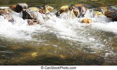 Small stream with rocks - A small stream with rocks built up...