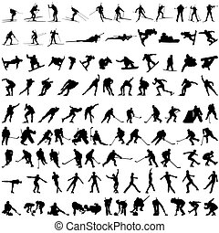 Set of winter sport silhouettes Vector illustration