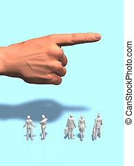 3D illustration of big hands