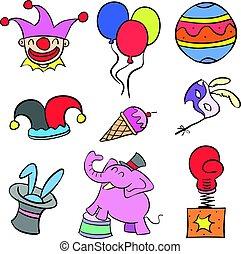 Various object circus set doodles