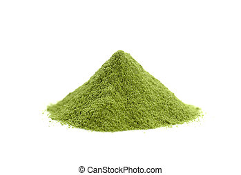 powdered hill green tea, green powder heap isolated on white background
