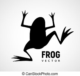 Frog silhouette. Black and white vector icon. Eps8. RGB....
