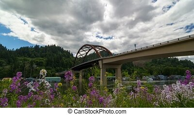 Time lapse of clouds over Sauvie Island bridge with boat...
