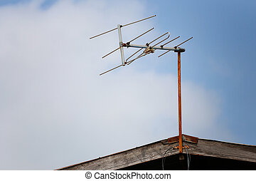 Old Television tower on the Roof house. - Old Television...