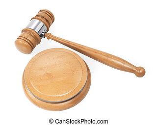 Hammer judgle. Wooden gavel top view isolated on white background. 3d rendering.