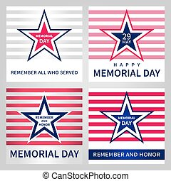 Set of the vector Memorial Day card