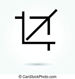 Crop icon. Flat style. Grey background. Vector illustration....