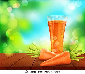 vector with a glass of carrot juice, carrots standing on a wooden table on the background of the sky and green foliage