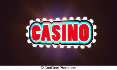 Red flashing Casino sign to attract customers - Red moving...
