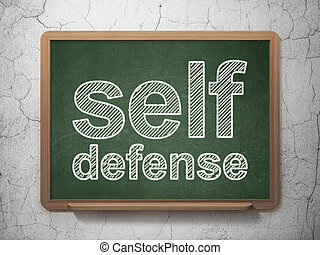 Security concept: Self Defense on chalkboard background -...