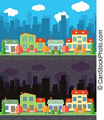 Vector city with four cartoon houses and buildings in the day and night
