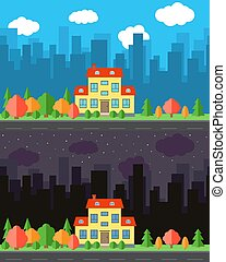 Vector city with cartoon house in the day and night.Summer urban landscape