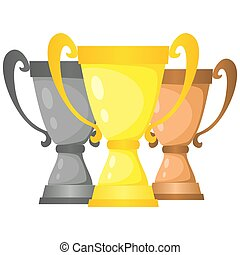 Set of vector trophy champion cups in gold, silver and bronze