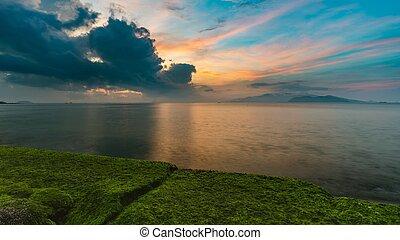 Sunrise Sky Nha Trang Bay Vietnam - A view of Nha Trang bay...
