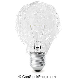 Exploding light bulb on white background. 3D Rendering -...
