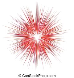Abstract red explosion, blast background - vector graphic