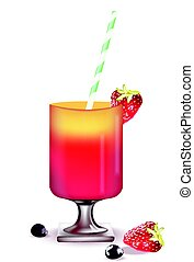 Strawberry cocktail summer vector illustration - Strawberry...