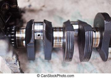 Close-up photo of the crankshaft car engine