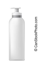 Cosmetic bottle with dispenser - High plastic jar with a...