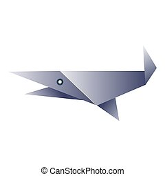 Simple fish origami figurine - Vector illustration of simple...