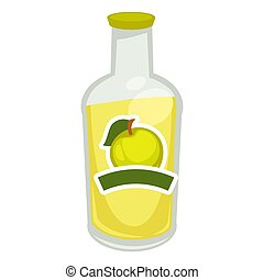 Fizzy water with apple taste - Vector illustration of glass...