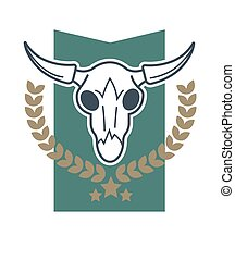 Cow skull emblem - illustration of emblem with skull with...