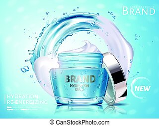hydration cream ad - hydration cosmetic cream ad, with water...