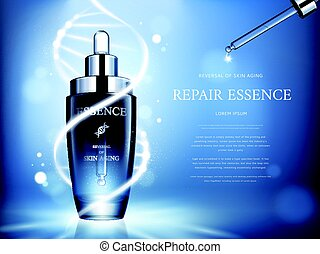 repair essence ads - dark blue repair essence with helical...