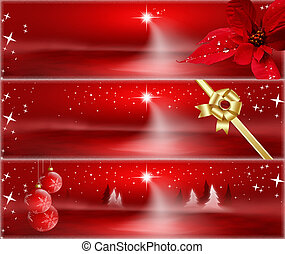 Red Christmas banners with stars, poinsettia, golden ribbon...