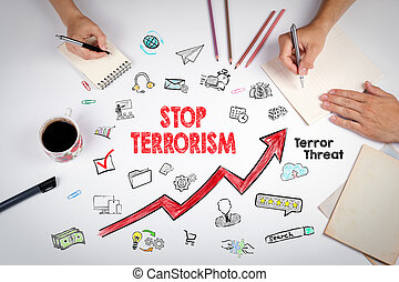 Stop terrorism Concept. The meeting at the white office...