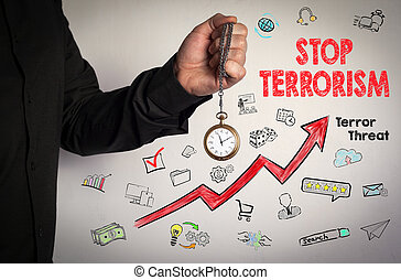 Stop terrorism concept. Red Arrow and Icons Around. Man...