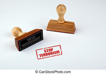 Stop terrorism. Rubber Stamper with Wooden handle Isolated...